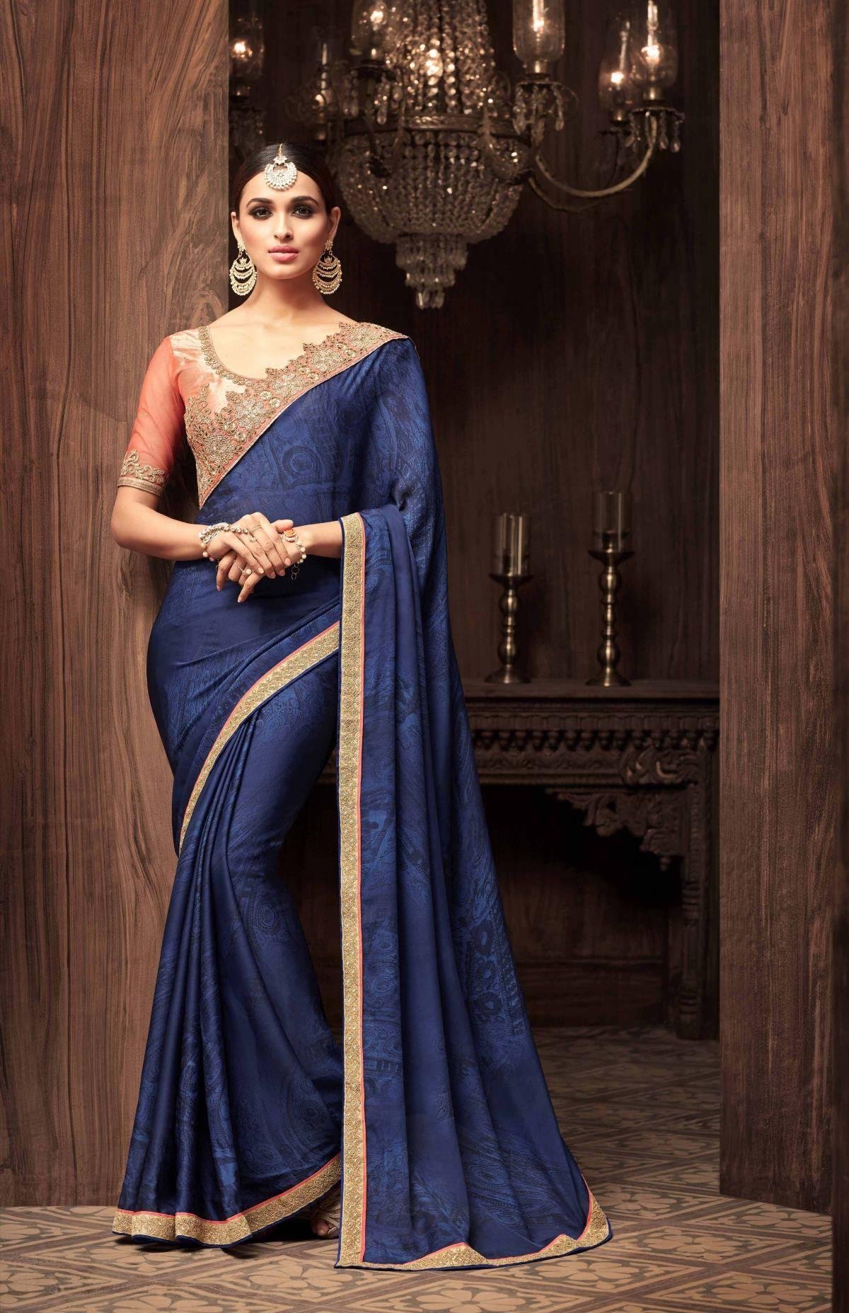 Printed Georgette Saree (sari) in Navyblue