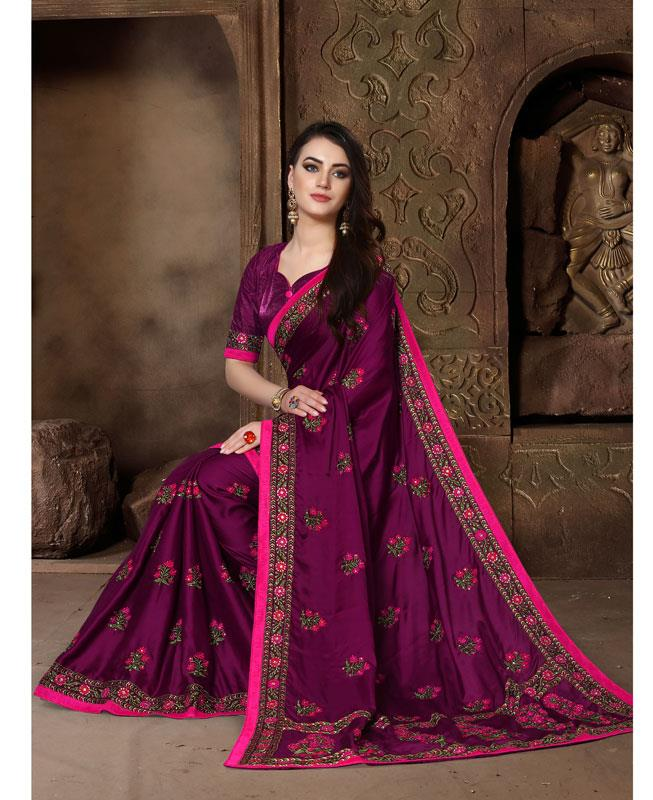 Embroidered Silk Saree (Sari) in Purple