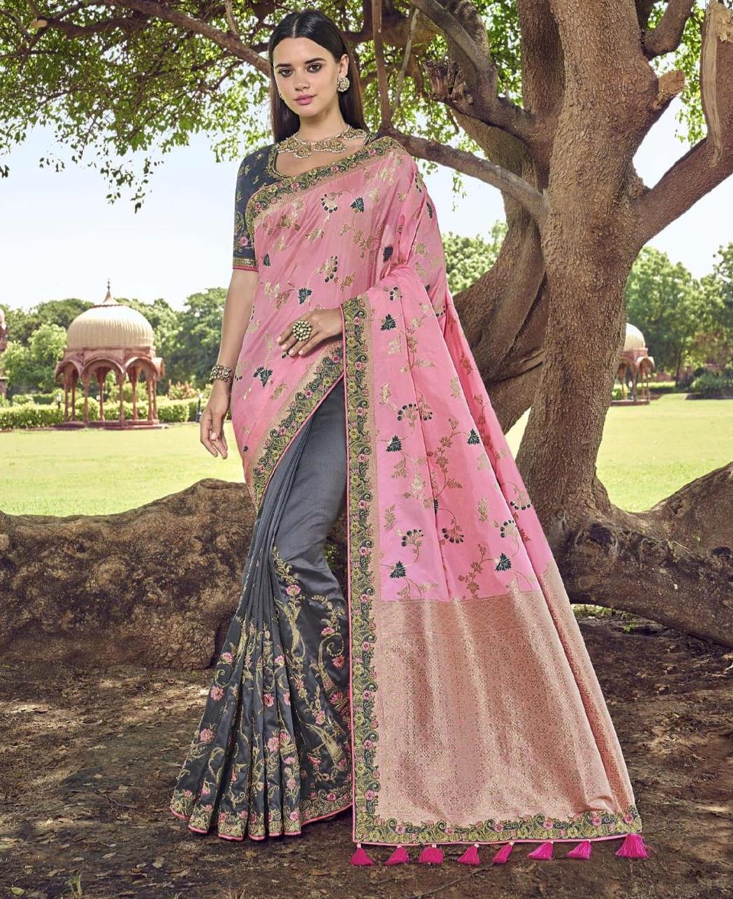 Lace Silk Saree in Light Pink  ,  Grey
