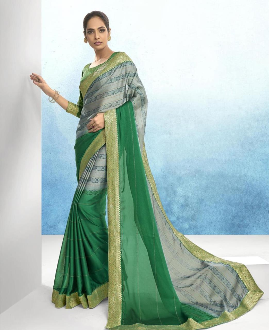 Lace Chiffon Saree in Light Green