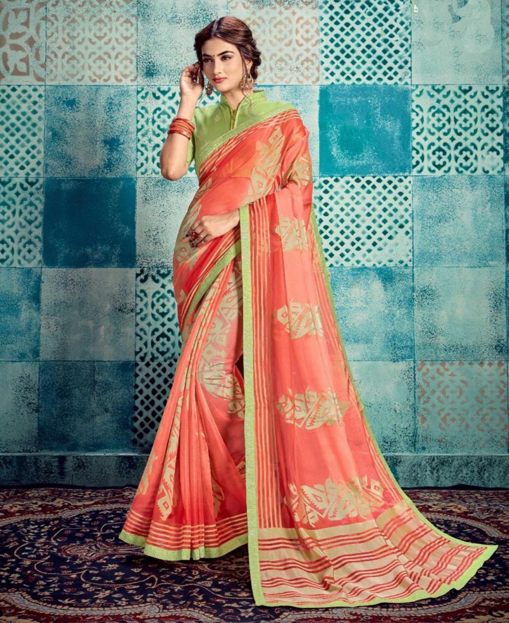 Printed Silk Saree in Peach
