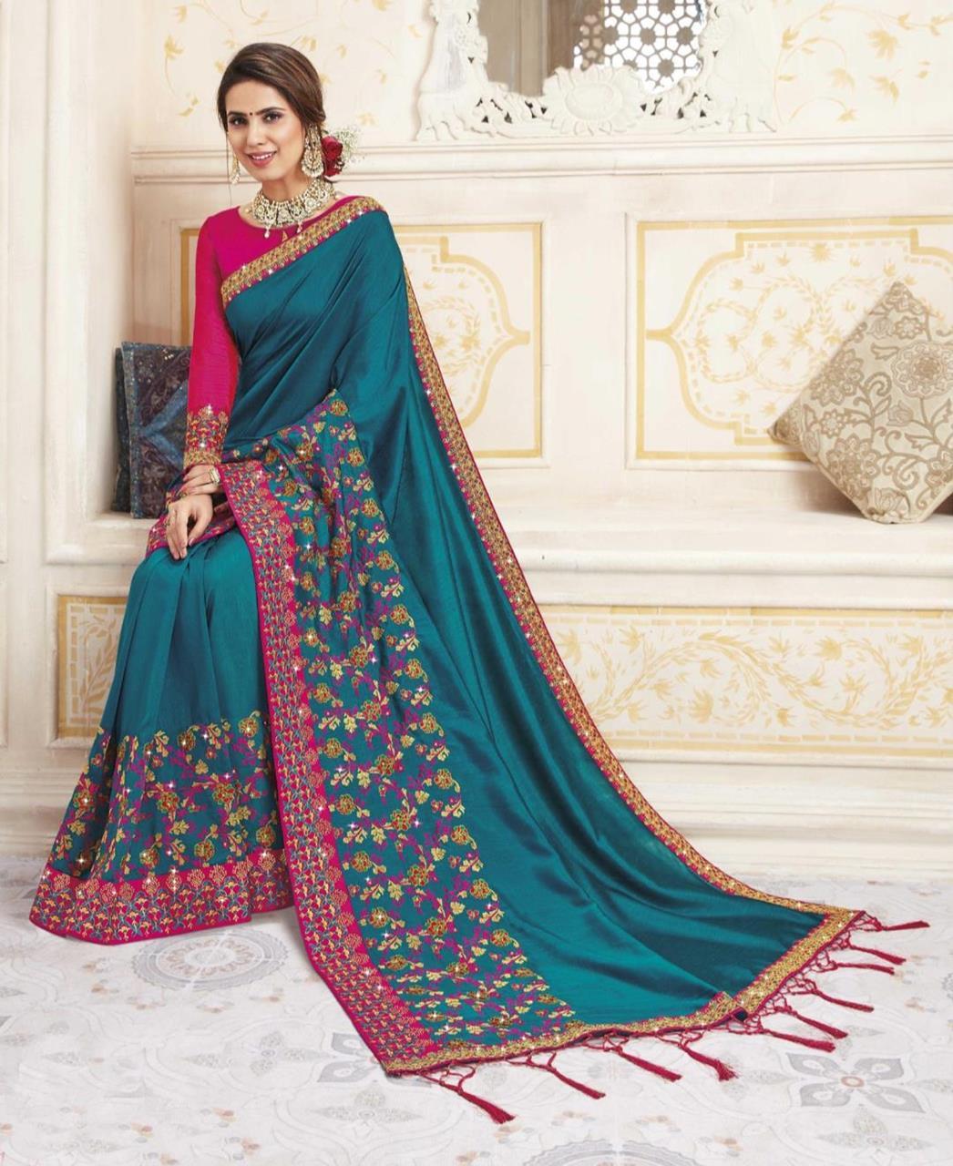 HandWorked Silk Saree in Teal Blue