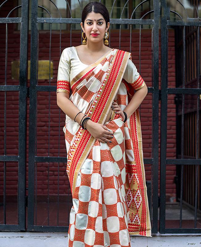 Printed Banarasi Silk Saree (Sari) in Offwhite