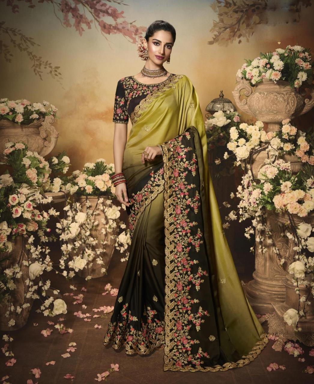 Silk Saree in Mustard Green