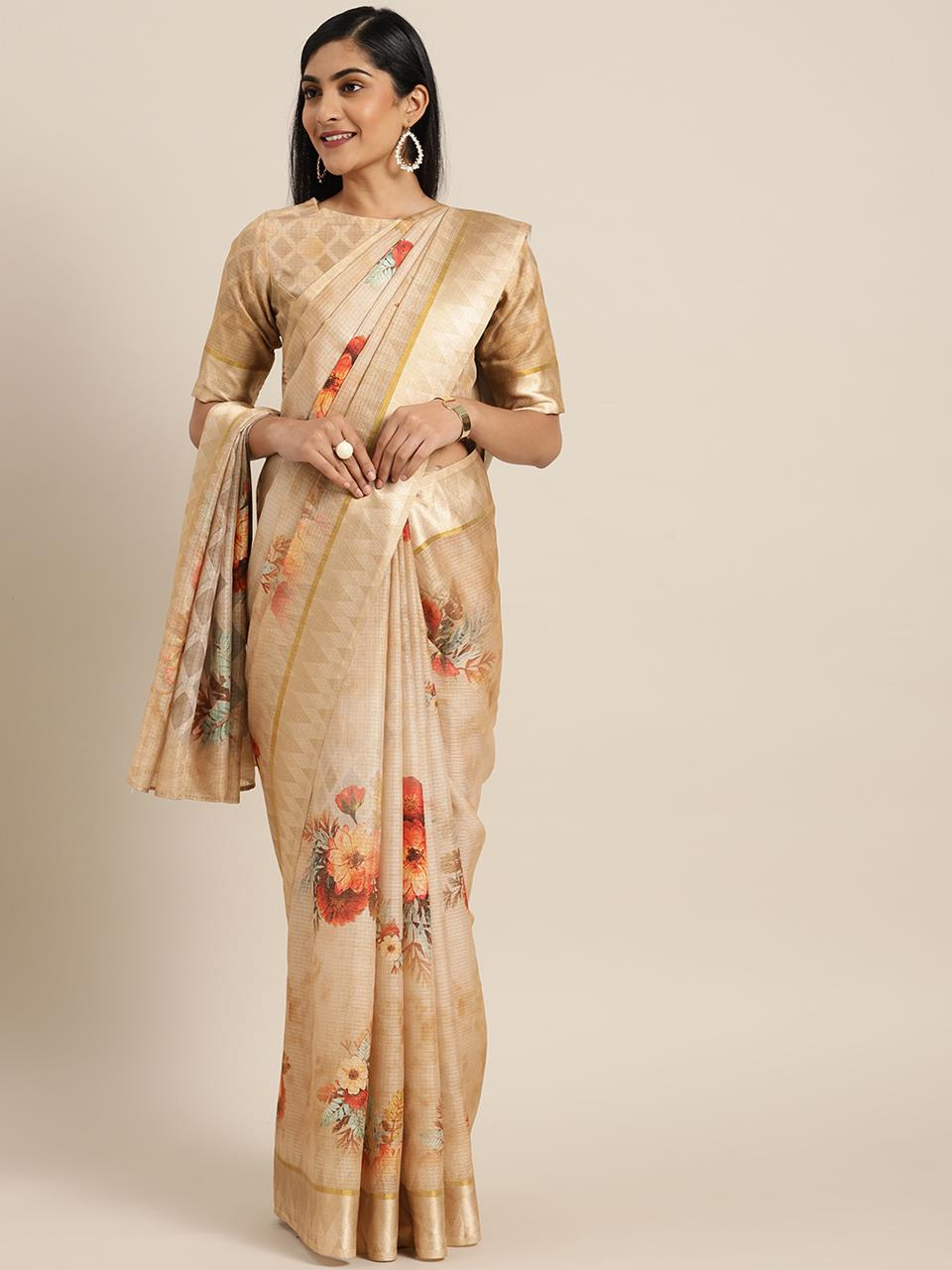 Silk Saree in Beige