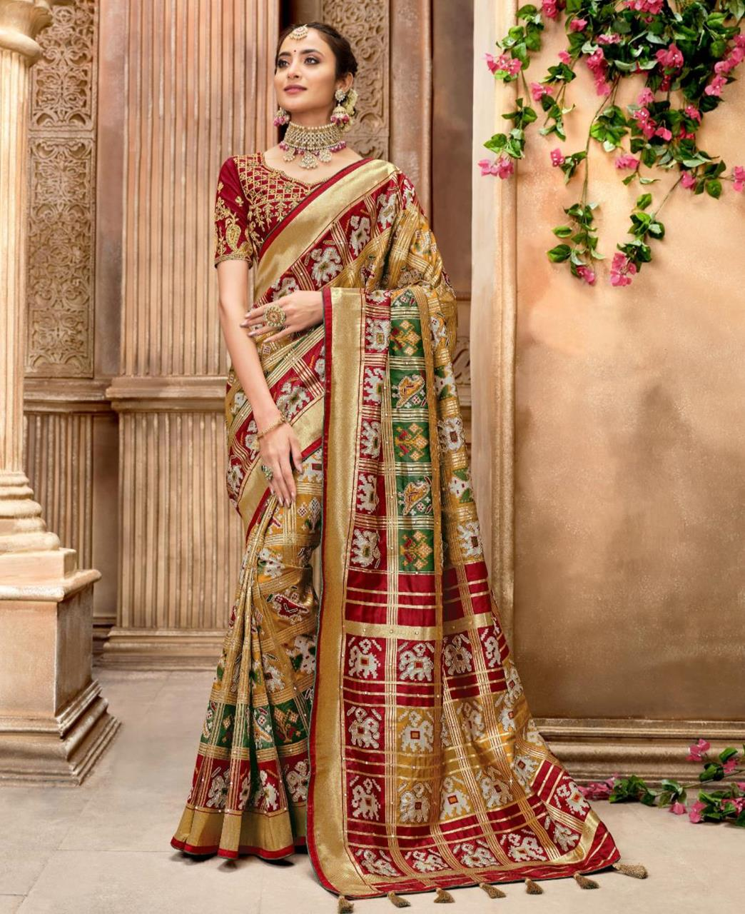 Embroidered Silk Saree in Pure Silk