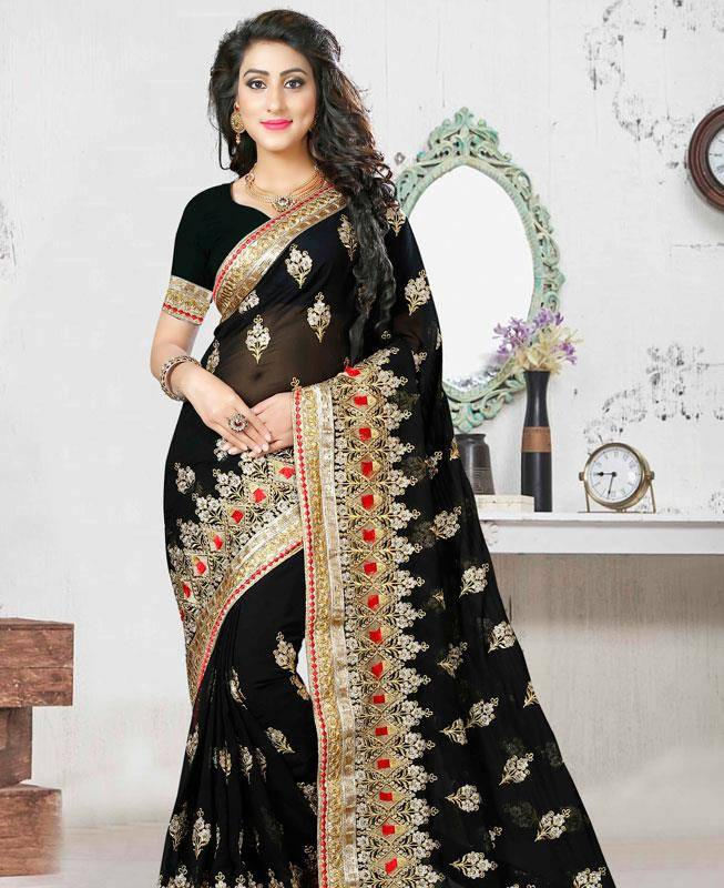 Lace,Embroidered Georgette Saree (Sari) in Black