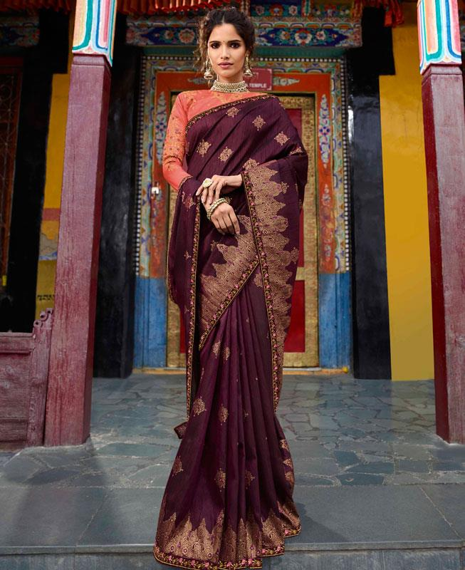 Embroidered Raw Silk Saree in Purple