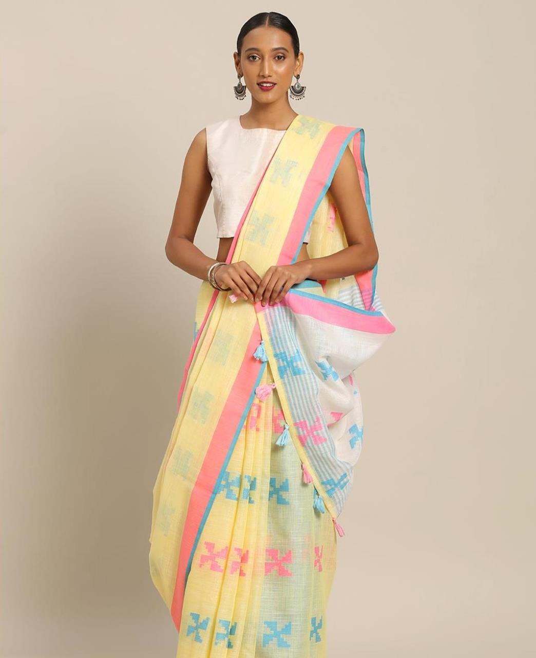 Cotton Saree in Yellow
