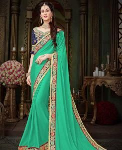 Embroidered Georgette Saree (Sari) in Turquoise