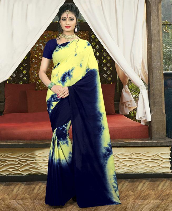 Printed Silk Saree (Sari) in Navyblue