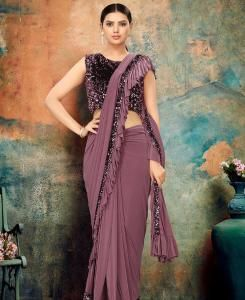 Chiffon Saree in Brown