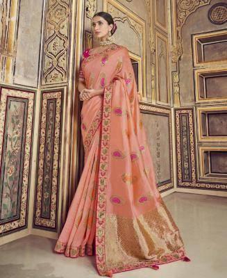 Woven Satin Saree in PeachPuff