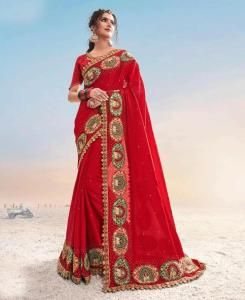 Zari Satin Saree in Red