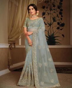 HandWorked Silk Saree in Bluish Grey
