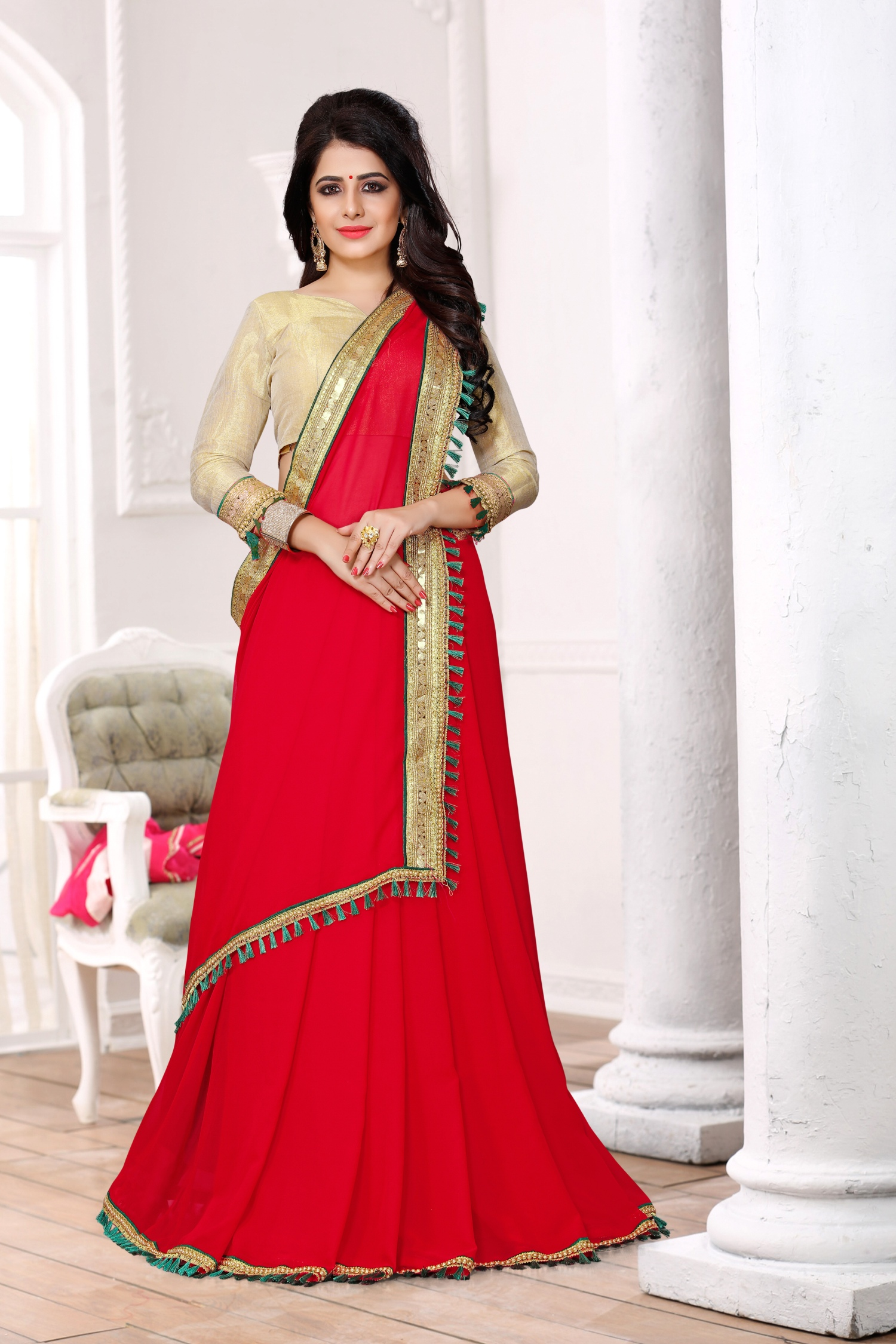 Lace Georgette Saree in Red