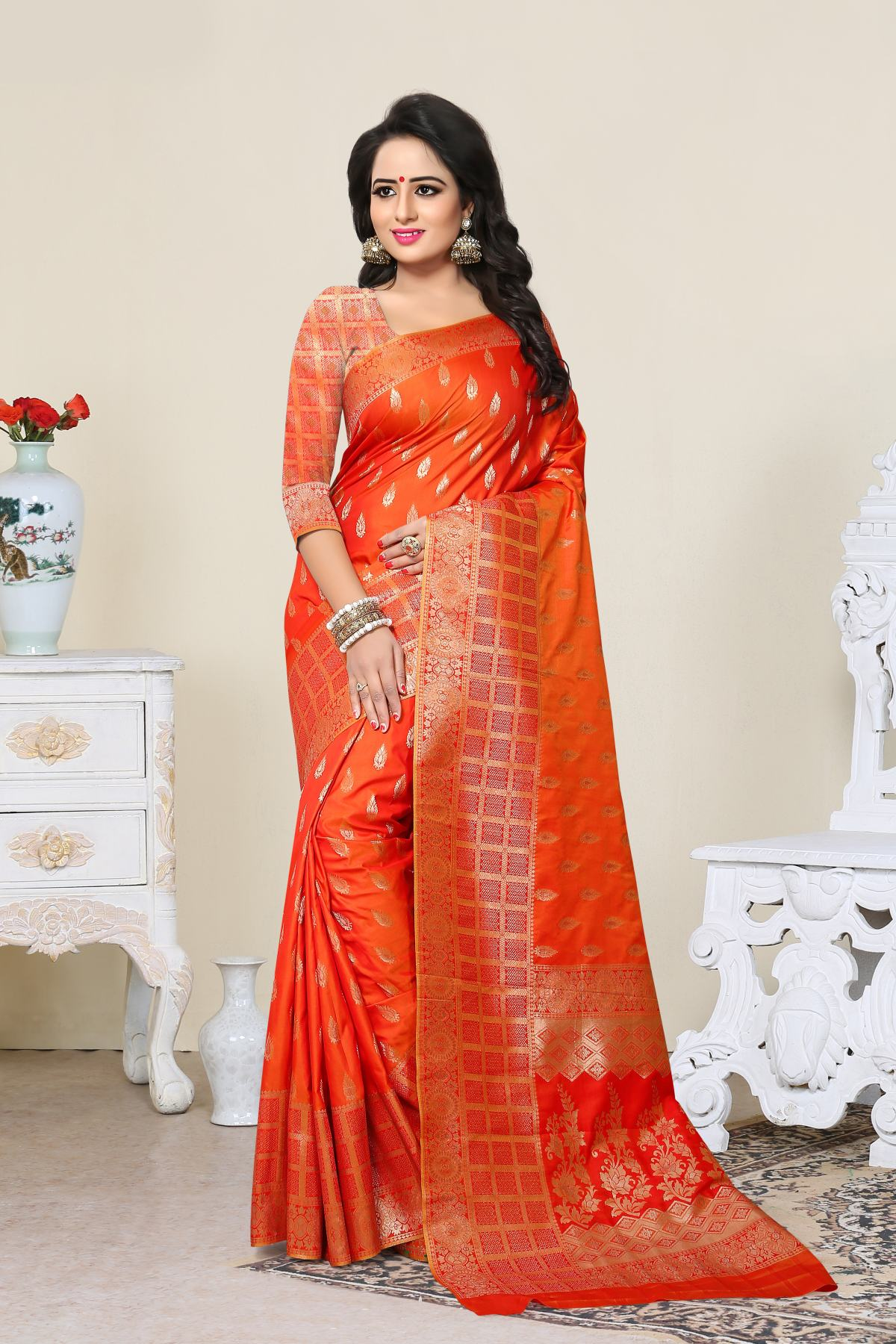 Woven Art Silk Saree (Sari) in Orange