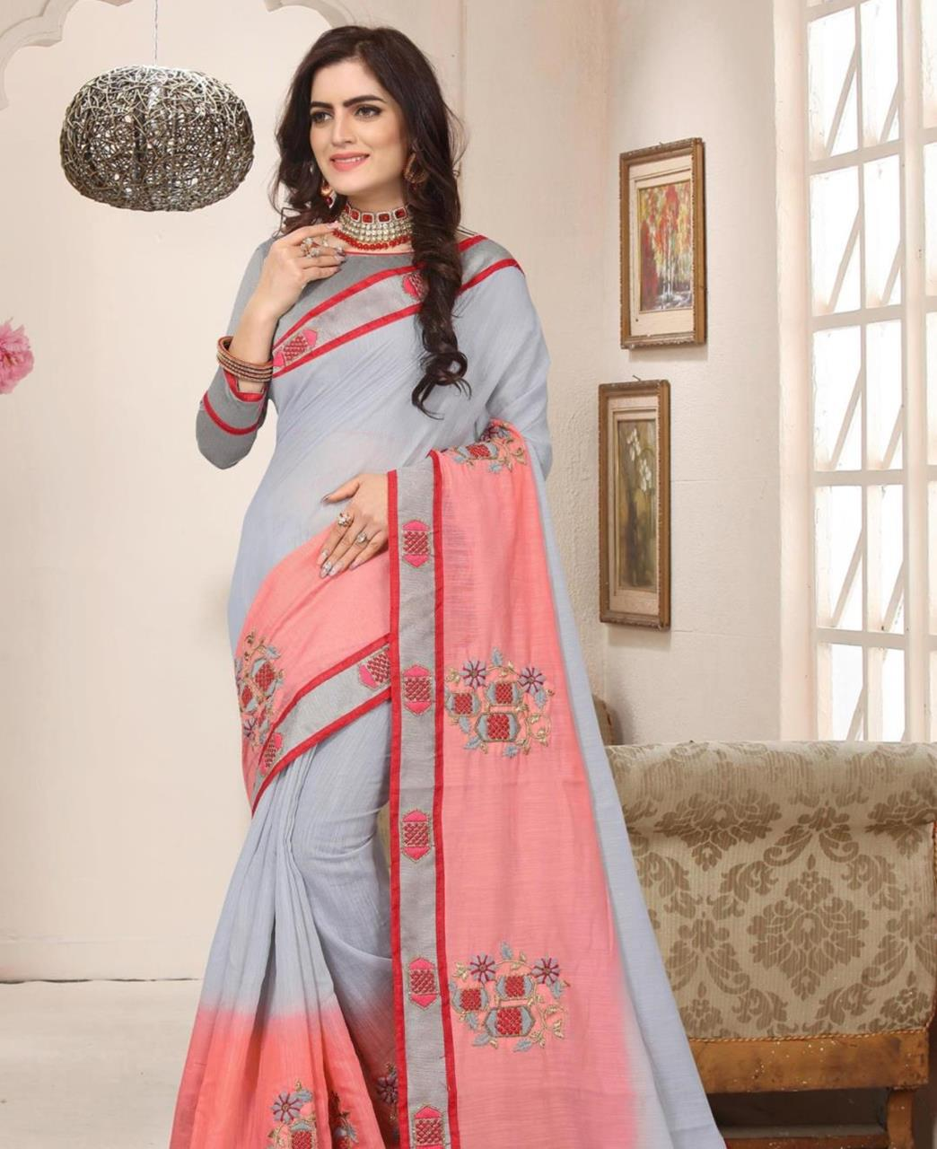Border Work Silk Saree (Sari) in Gray
