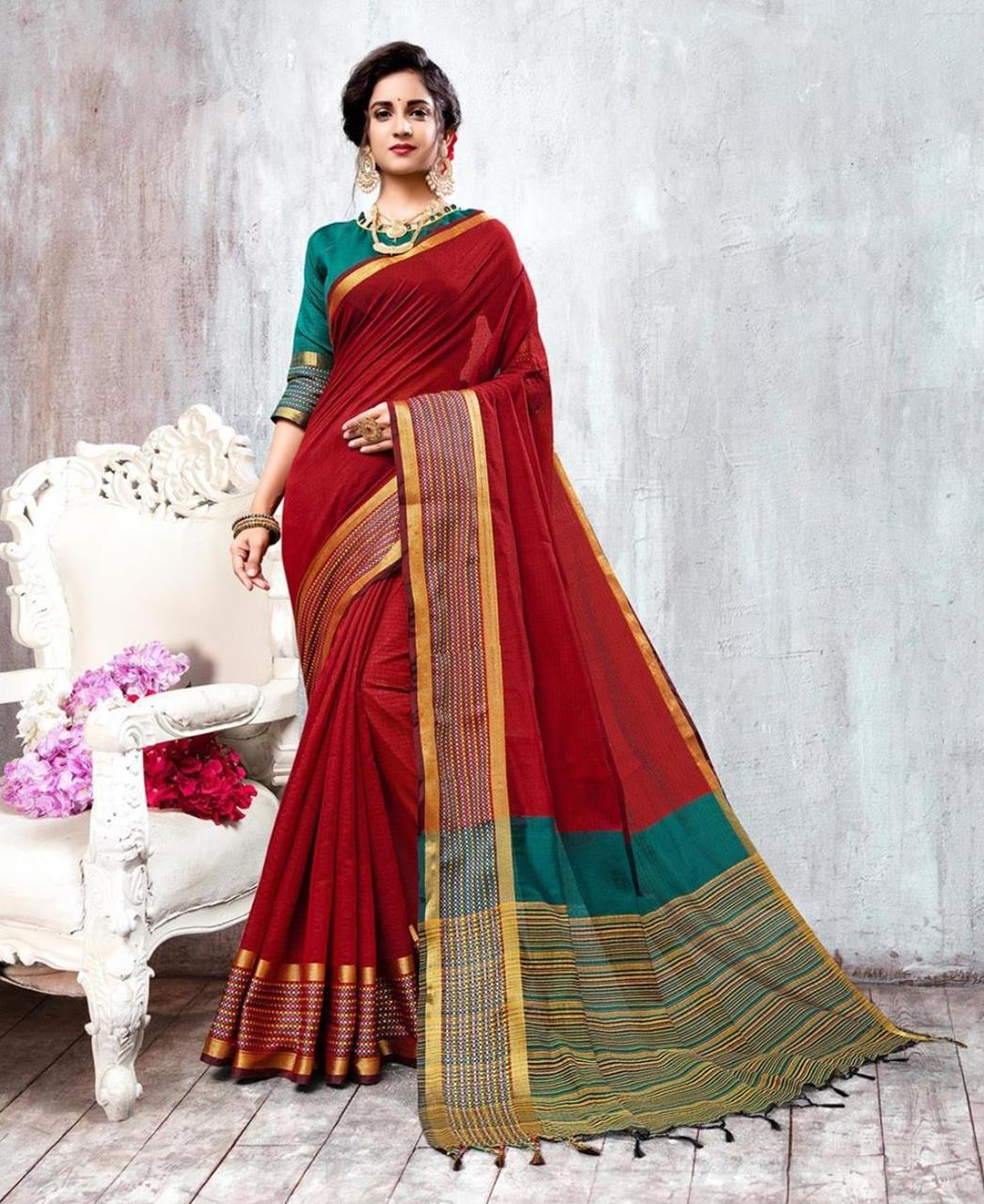 Woven Cotton Saree (Sari) in Red