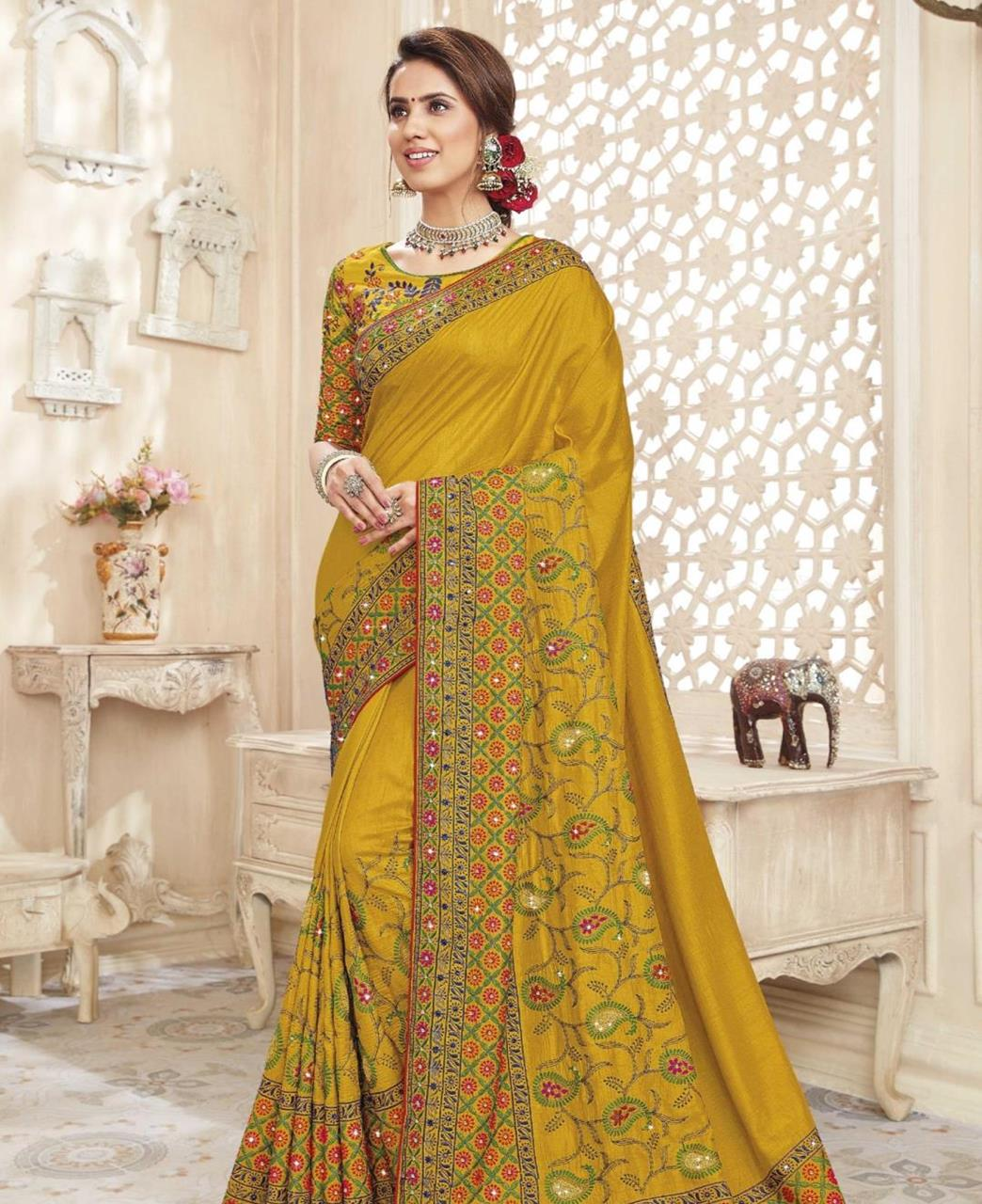 HandWorked Silk Saree in Yellow