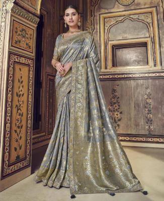 Woven Art Silk Saree in Gray