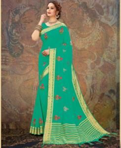 Embroidered Chiffon Saree in SEAGREEN