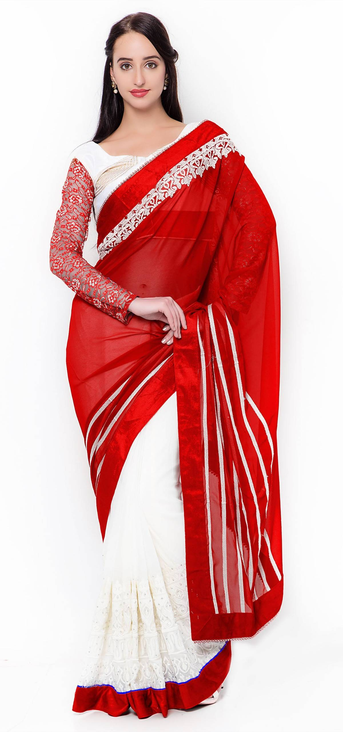Embroidered Faux Georgette Saree (Sari) in White