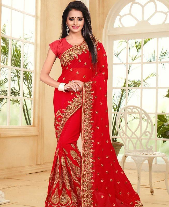 Embroidered Georgette Saree (Sari) in Red