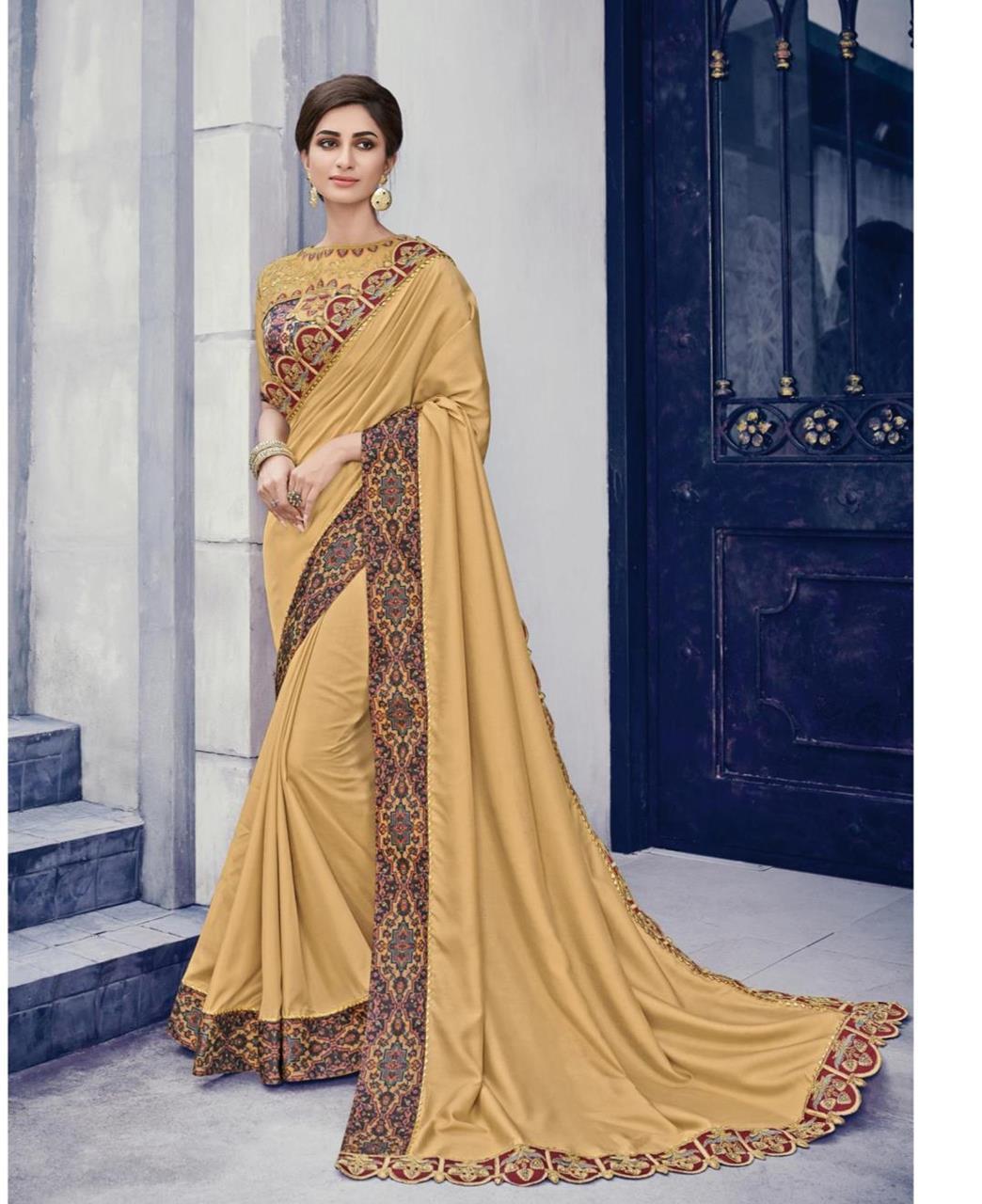 Embroidered Silk Saree (Sari) Beige