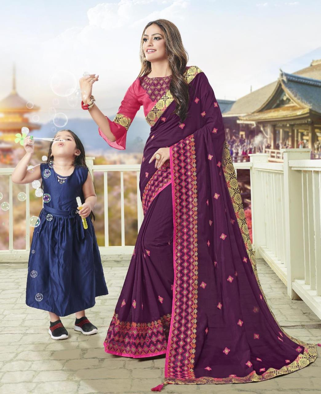 Embroidered Silk Saree in Purple-Winish