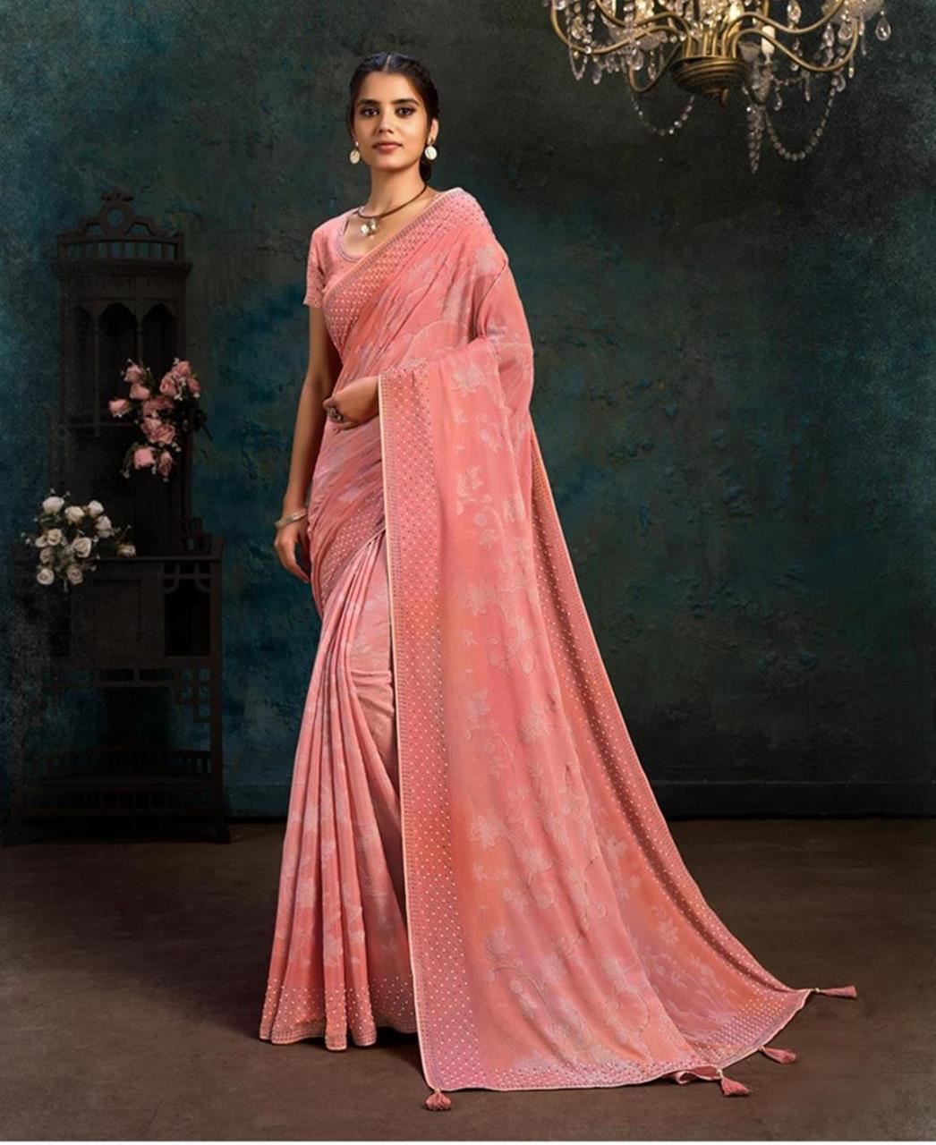 Stone Work Chiffon Saree in Pink
