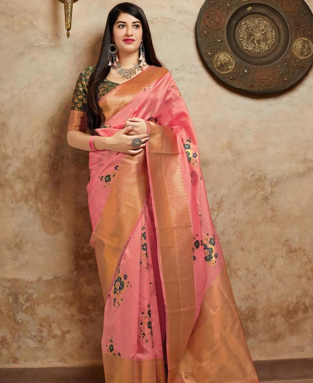Woven Banarasi Silk Saree (Sari) in LIGHTPINK