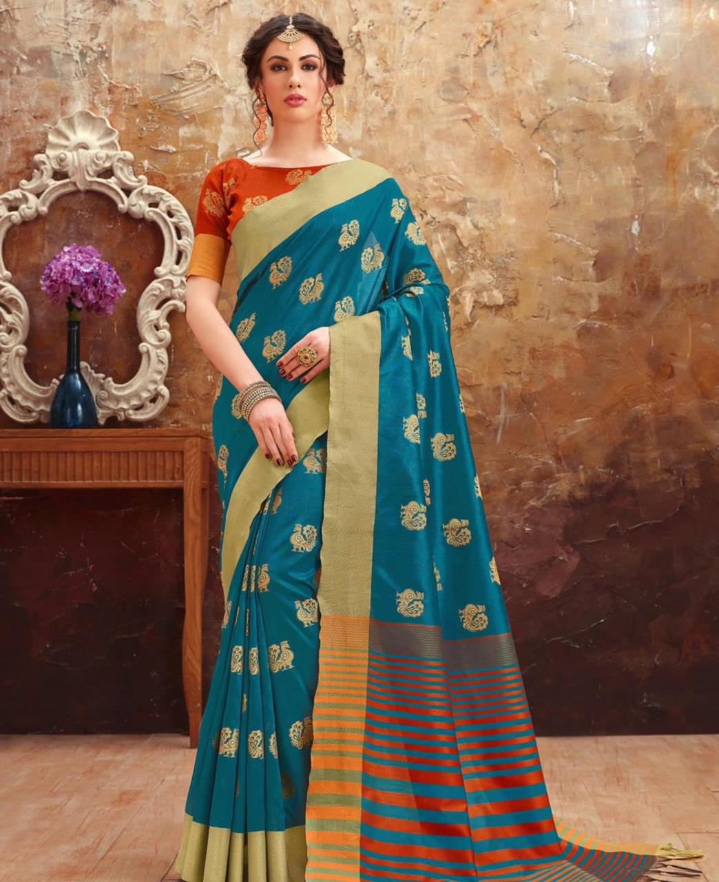 Printed Art Silk Saree (Sari) in Blue