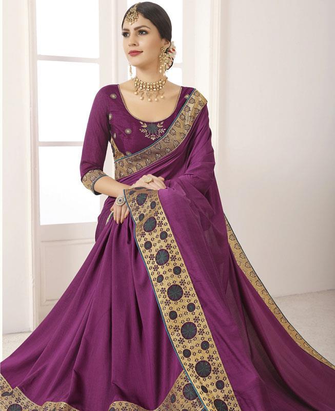 Embroidered Silk Saree in Purple