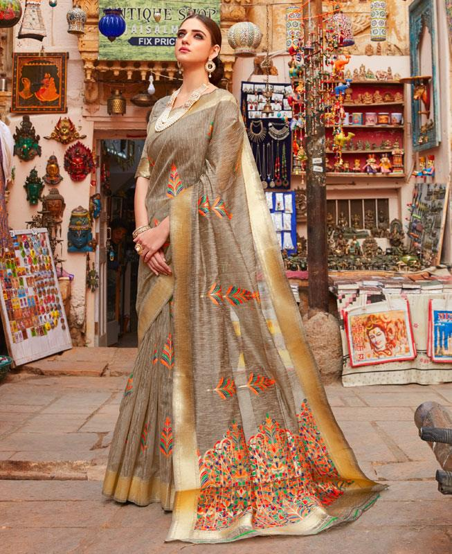 Silk Saree in Golden