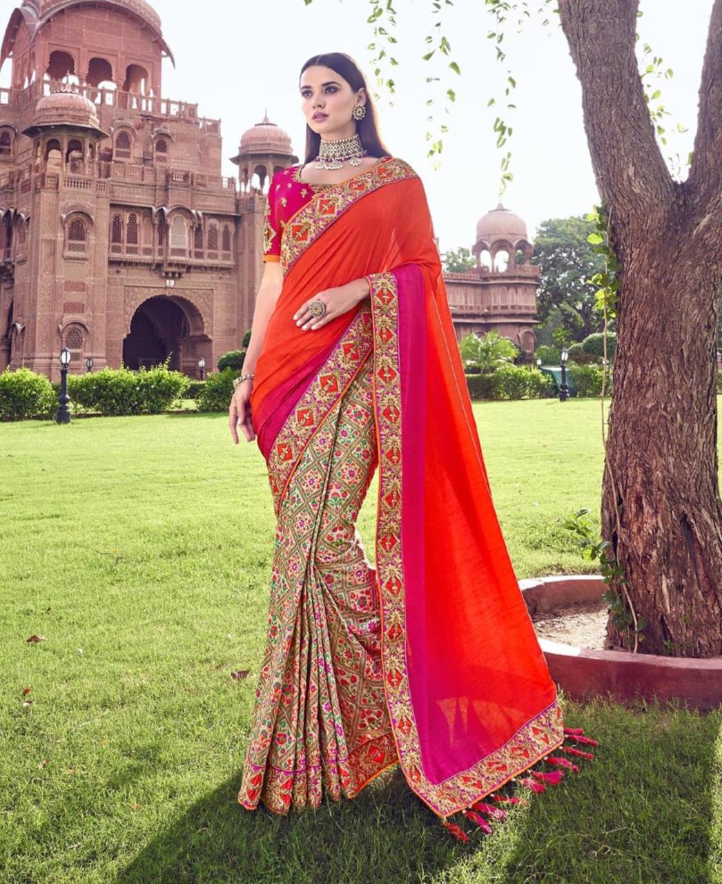 Lace Silk Saree in Red  ,  Pink
