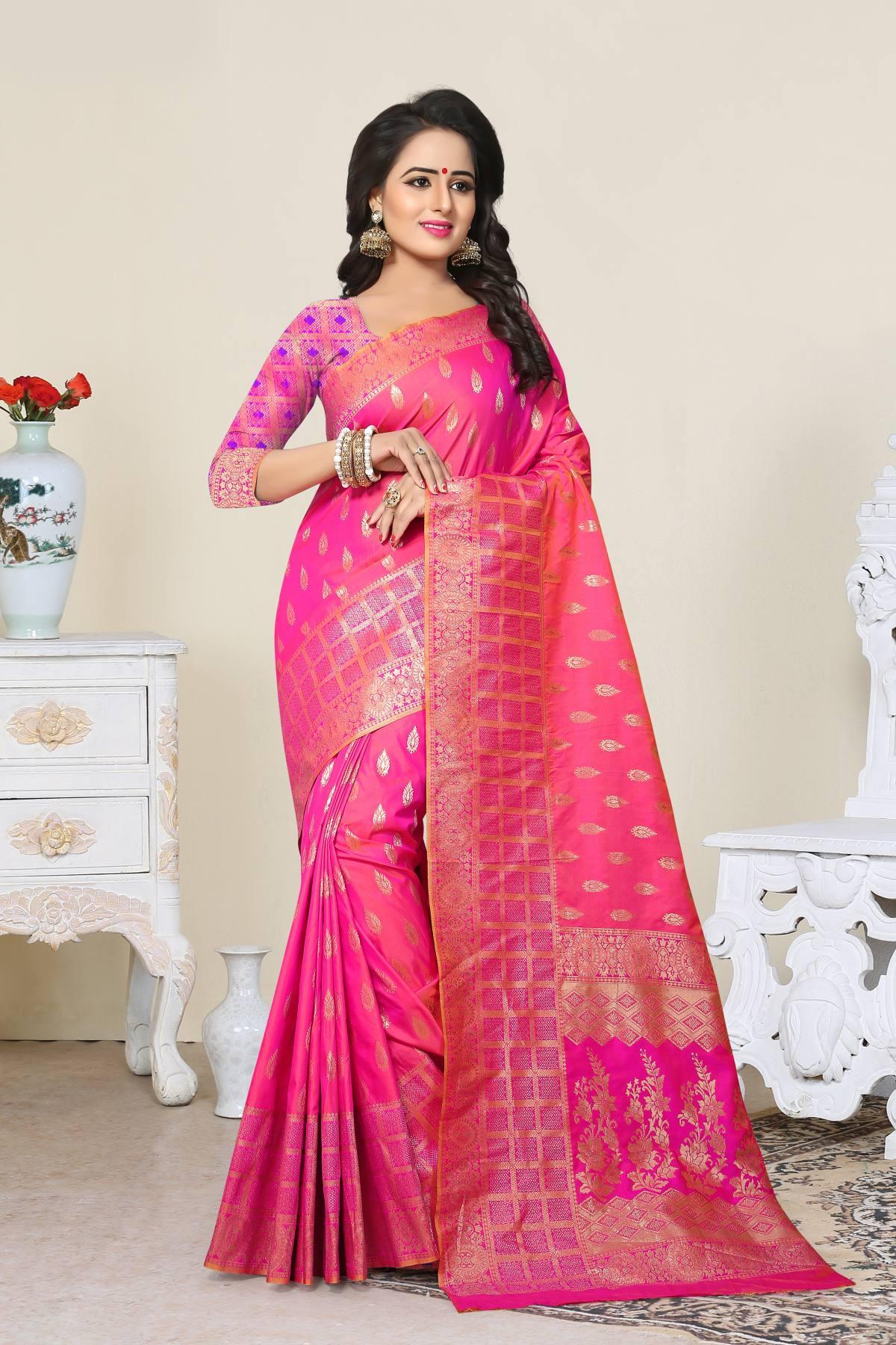 Woven Art Silk Saree (Sari) in Pink