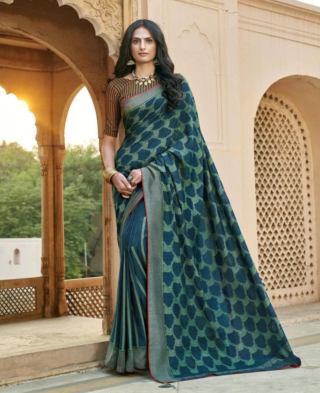 HandWorked Silk Saree in Tela Blue