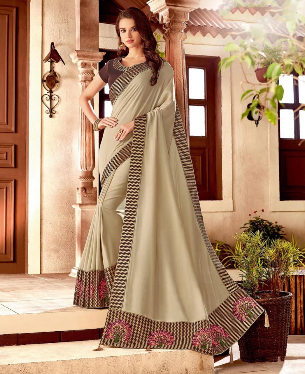 Thread Work Silk Saree (Sari) in Cream