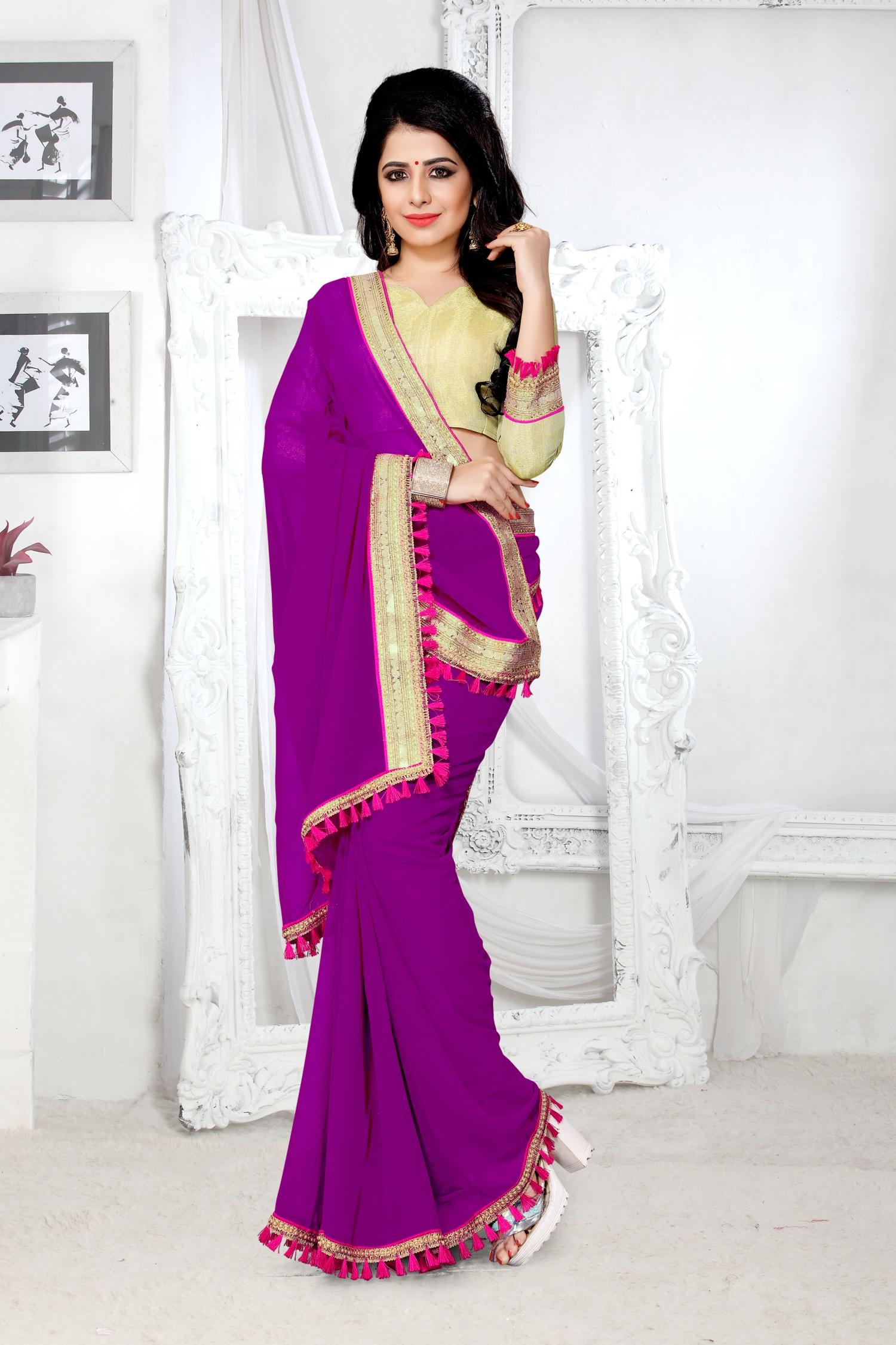 Lace Georgette Saree in Purple