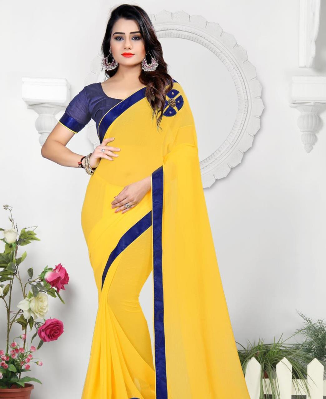 Lace Chiffon Saree (Sari) in Yellow
