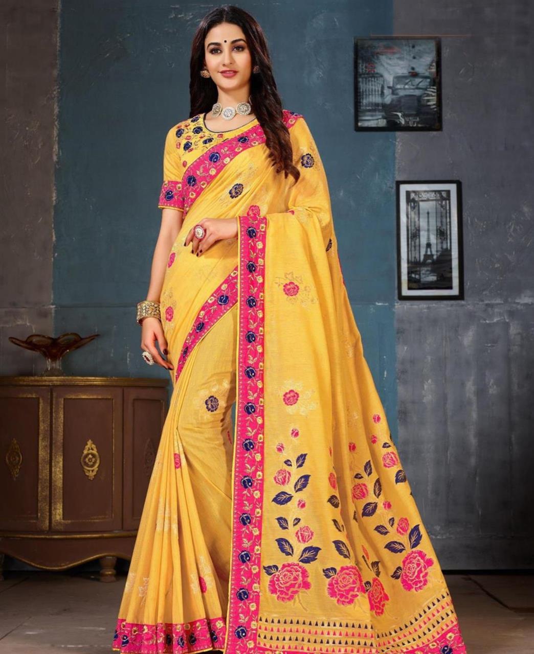 Jacquard Cotton Saree (Sari) in Yellow