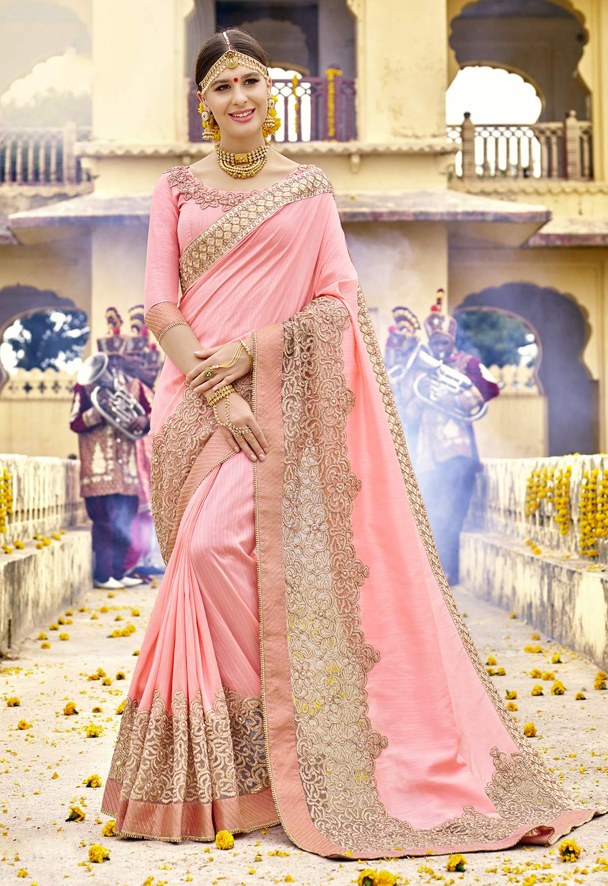 Embroidered Art Silk Saree in Pink