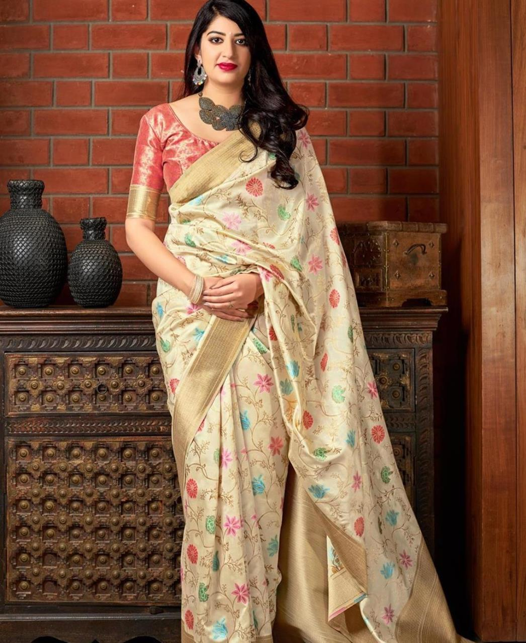 Woven Banarasi Silk Saree in Beige