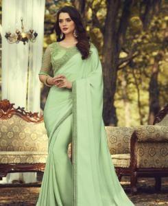 Lace Silk Saree in Pista