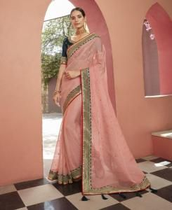 Lace Silk Saree in Light Pink