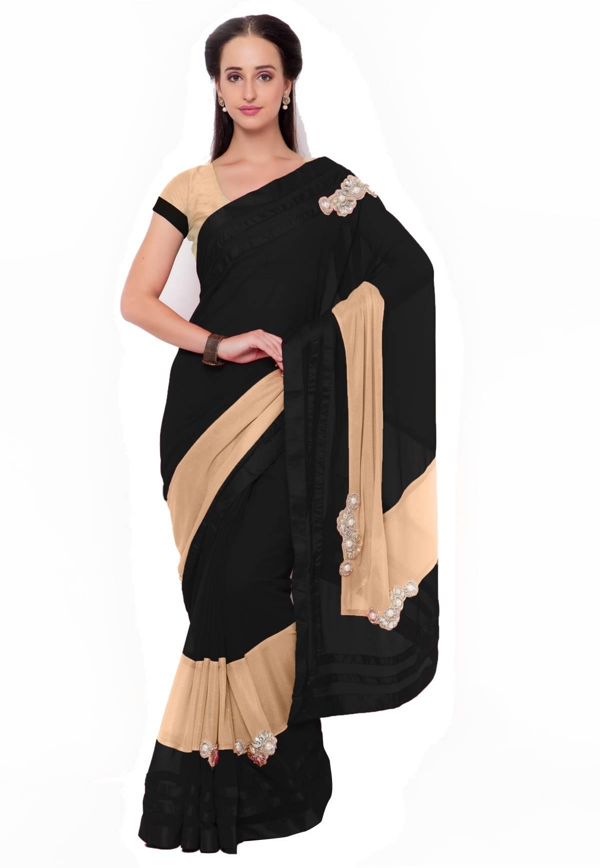 Embellishments Faux Georgette Saree (Sari) in Black