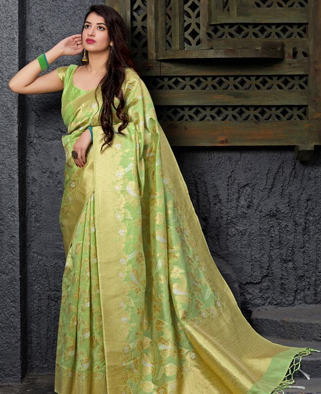 Woven Banarasi Silk Saree in MINTCREAM