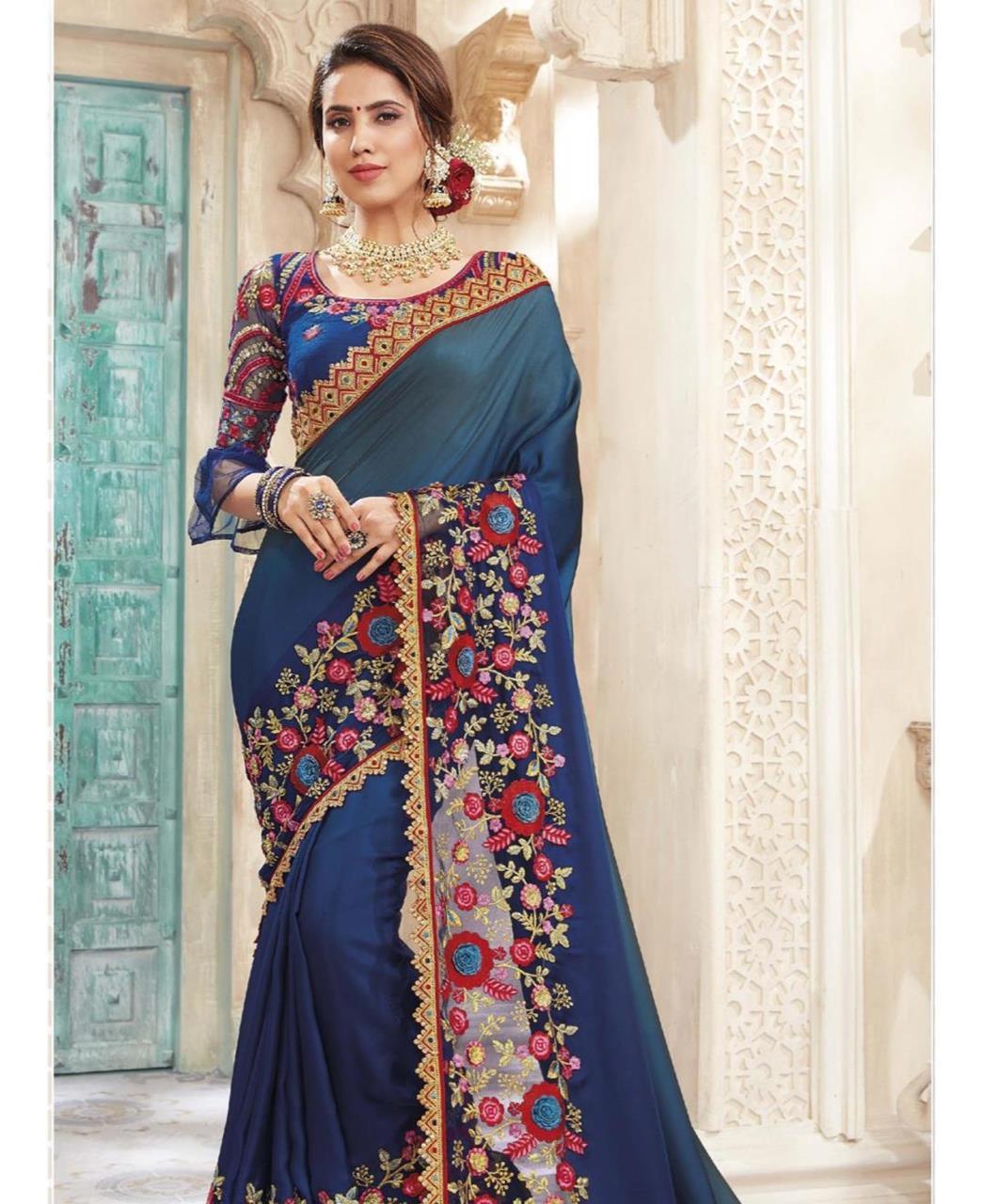 HandWorked Silk Saree in Blue