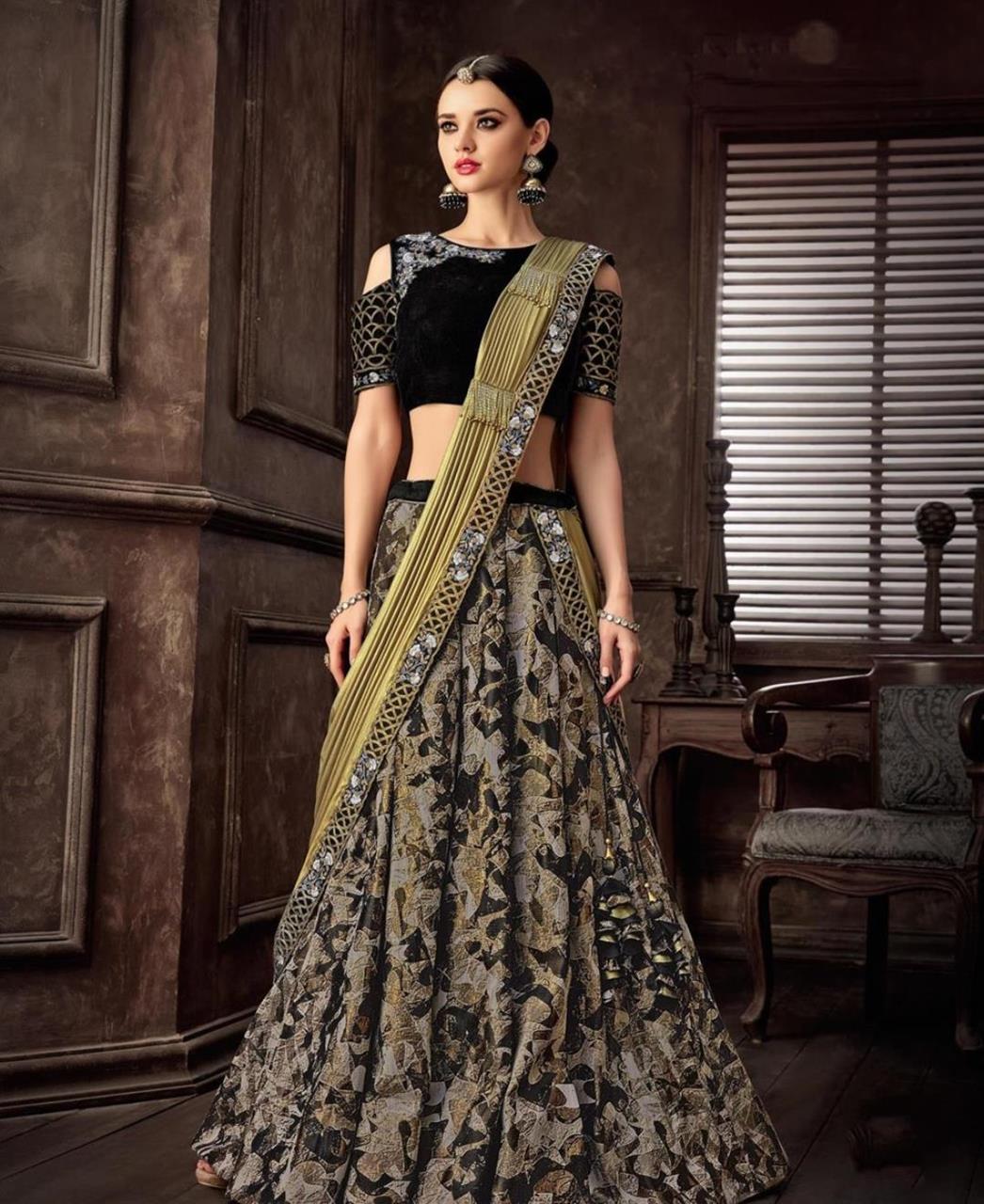 Cord Work Jacquard Saree(Sari) in Black